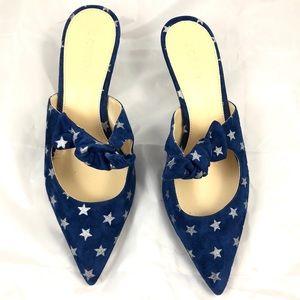 J. Crew Star Print Suede Kitten Heels 9.5 NWOB